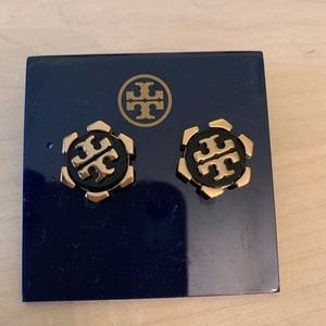 Tory Burch Walter Black Stud  Earrings